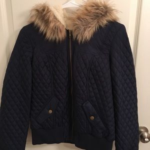 Navy short puffer jacket from forever 21